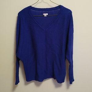 Cobalt blue sweater dolman sleeves